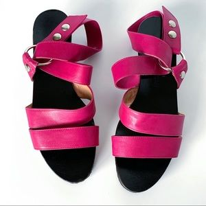 CHARLES JOURDAN ITALY LEATHER WRAP SANDALS